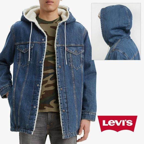 Levis Mens Denim Jean Jacket Sherpa Lined Long Fit